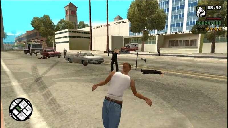 侠盗飞车4视频解说_侠盗猎车手GTA圣安地列斯:CJ莫名其妙的搞笑死法_好看视频